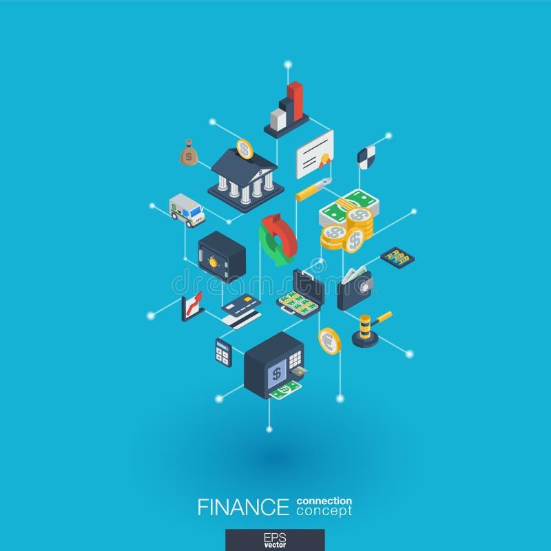 Symboler för rengöringsduk 3d för finans inbyggda Isometriskt begrepp för Digitalt nätverk vektor illustrationer