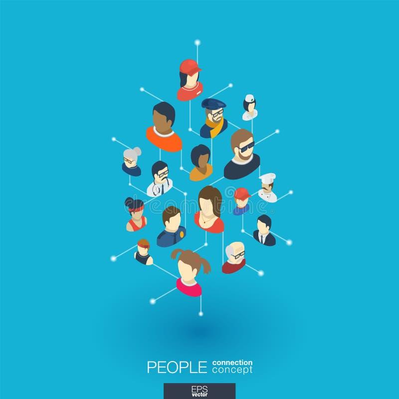 Symboler för rengöringsduk 3d för gemenskap inbyggda Isometriskt begrepp för Digitalt nätverk royaltyfri illustrationer