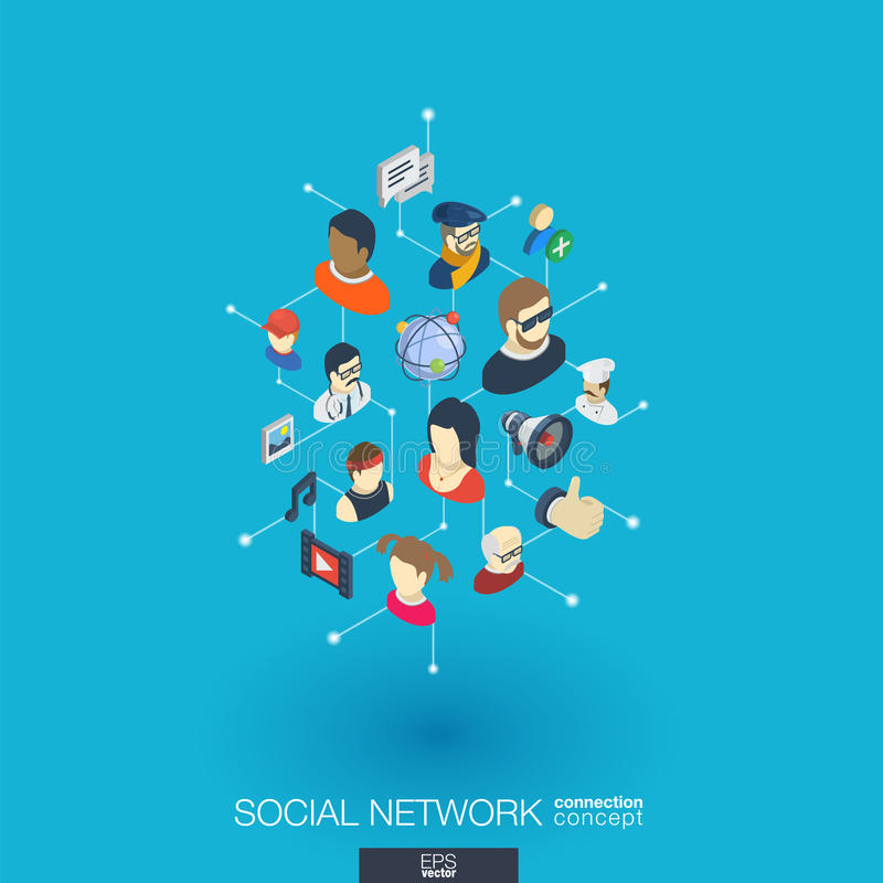 Symboler för rengöringsduk 3d för samhälle inbyggda Isometriskt begrepp för Digitalt nätverk vektor illustrationer