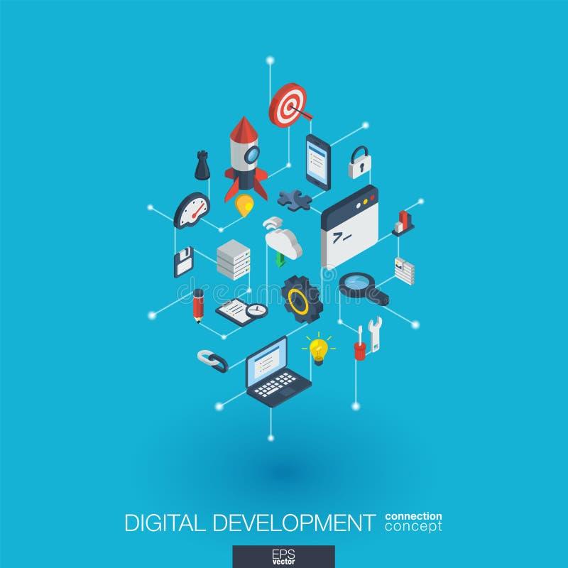Symboler för rengöringsduk 3d för utveckling inbyggda Isometriskt begrepp för Digitalt nätverk royaltyfri illustrationer