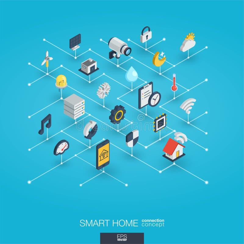 Symboler för rengöringsduk 3d för Smart hem inbyggda Isometriskt växelverkande begrepp för Digitalt nätverk stock illustrationer