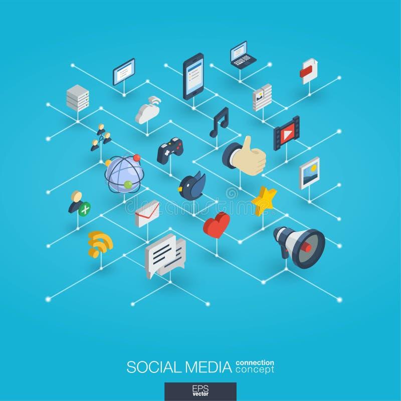 Symboler för rengöringsduk 3d för socialt massmedia inbyggda Isometriskt växelverkande begrepp för Digitalt nätverk stock illustrationer