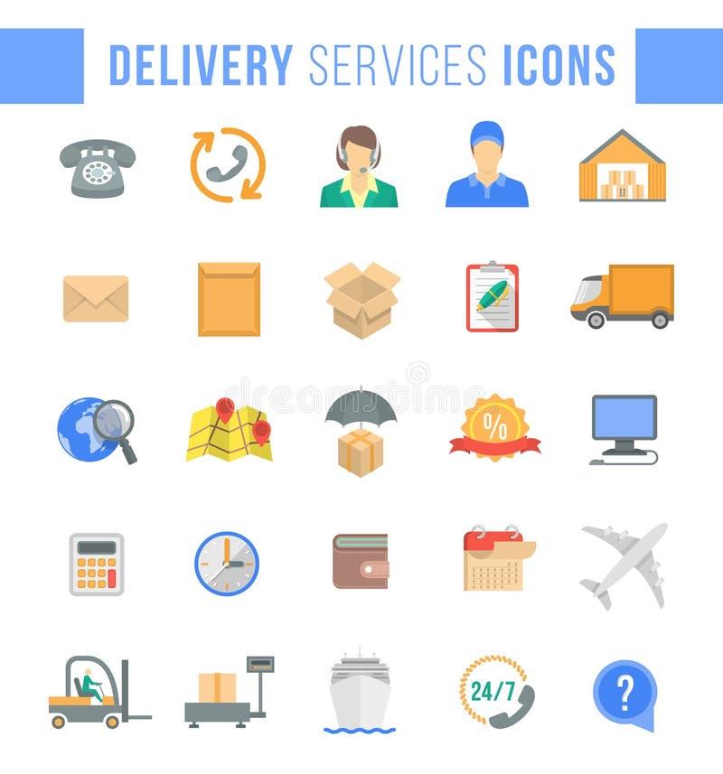 Symboler för rengöringsduk för leverans- och logistikservicelägenhet stock illustrationer