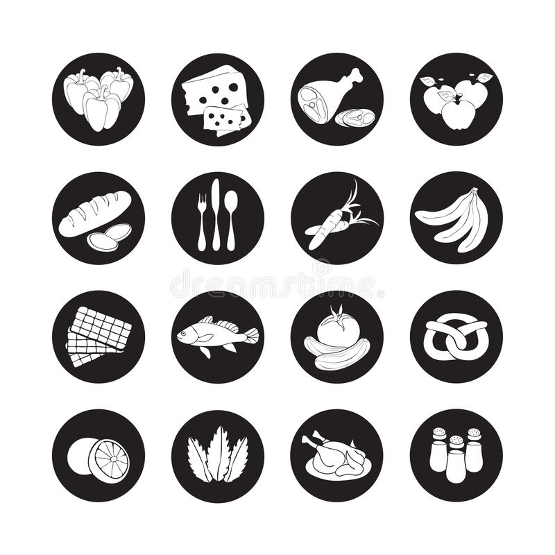 Symboler för rengöringsduk för vektoruppsättninglägenhet med mat Skuggar svartvita livsmedel för utdragen tecknad film länge i de stock illustrationer