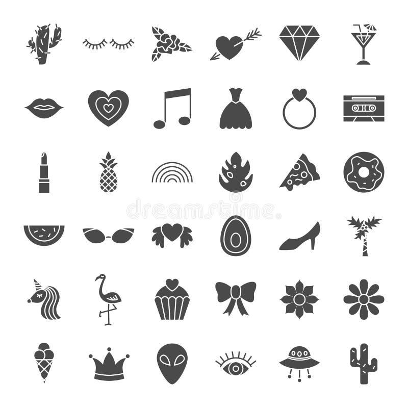 Symboler för rengöringsduk för flickamode fasta stock illustrationer