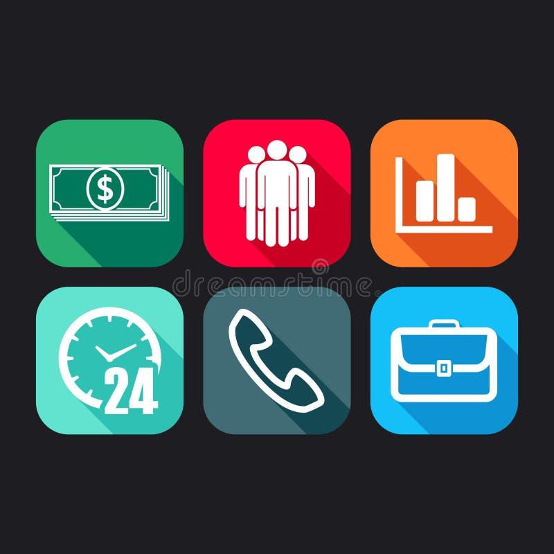 Symboler för rengöringsduk- och mobilapplikationer med affärstecken royaltyfri illustrationer