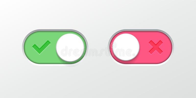 Symboler för rengöringsduk UI för vektor för glidare för vippknappströmbrytare royaltyfri illustrationer