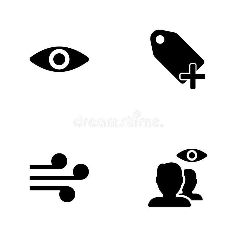 Symboler för rengöringsduk för vektorillustrationuppsättning Beståndsdelar dolde kontakter, spolar, plus etiketts- och ögonsymbol vektor illustrationer