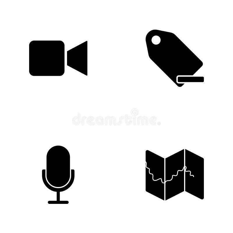 Symboler för rengöringsduk för vektorillustrationuppsättning Beståndsdelar kartlägger, mikrofonen, den minus etiketten och kamera vektor illustrationer