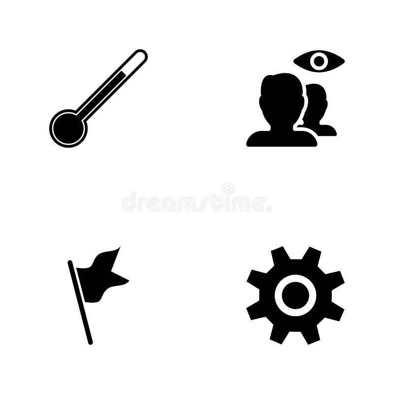 Symboler för rengöringsduk för vektorillustrationuppsättning Beståndsdelinställningar undertecknar, sjunker, den dolde kontakter  royaltyfri illustrationer