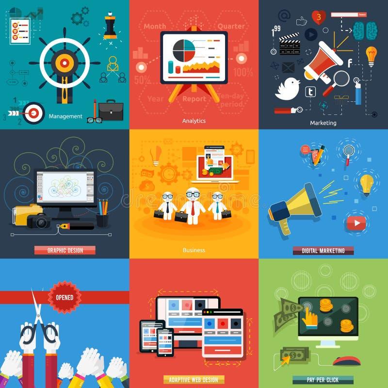 Symboler för rengöringsdukdesignen, seo, socialt massmedia royaltyfri illustrationer