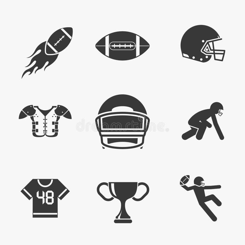 Symboler för rugby och för amerikansk fotboll stock illustrationer