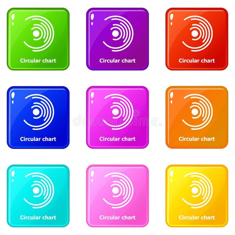 Symboler för runt diagram ställde in samlingen för 9 färg vektor illustrationer