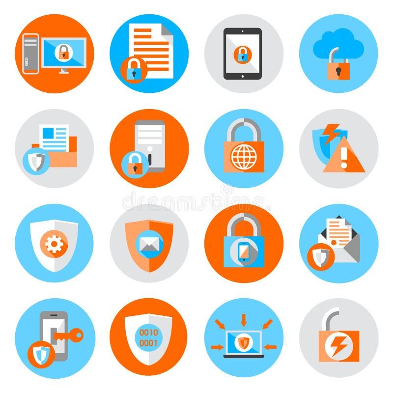 Symboler för säkerhet för dataskydd royaltyfri illustrationer