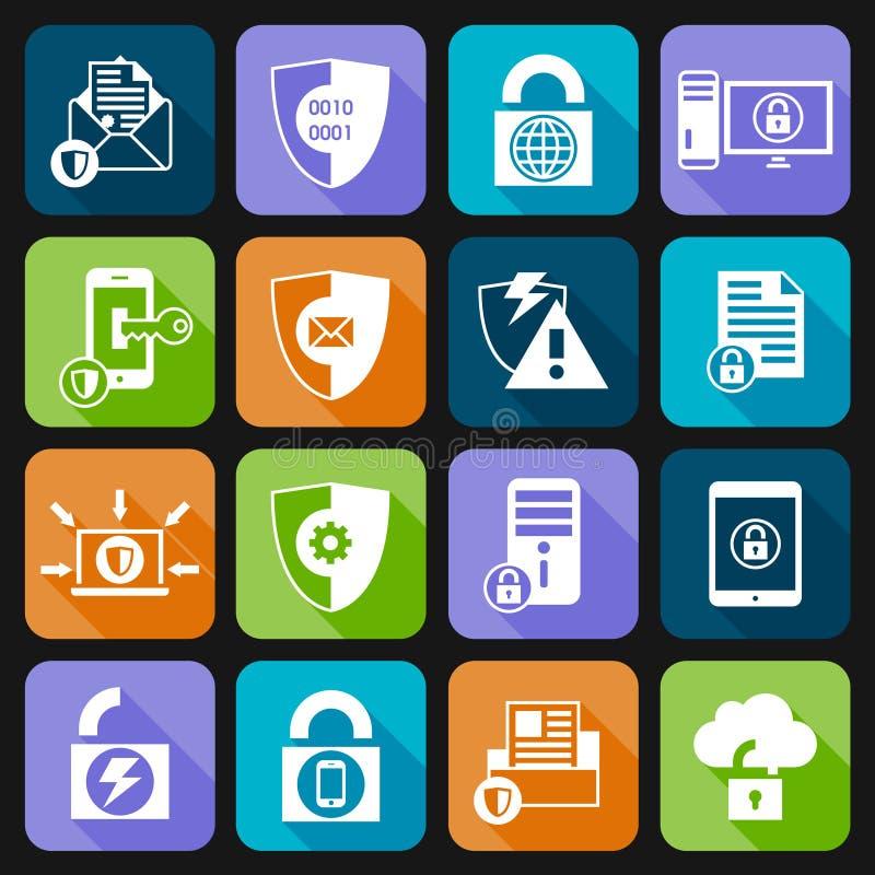 Symboler för säkerhet för dataskydd vektor illustrationer
