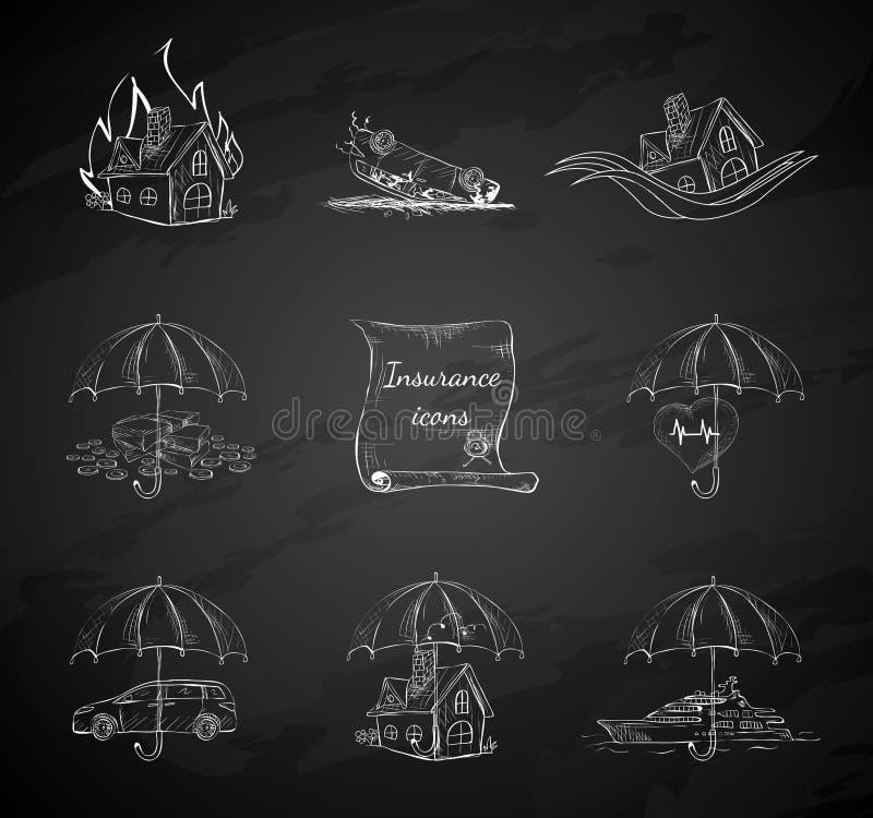 Symboler för säkerhet för försäkring för kritabräde vektor illustrationer