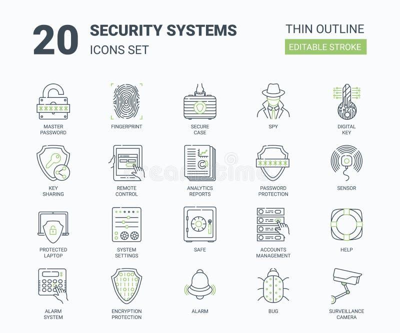Symboler för säkerhetssystem ställde in med linjär stil stock illustrationer