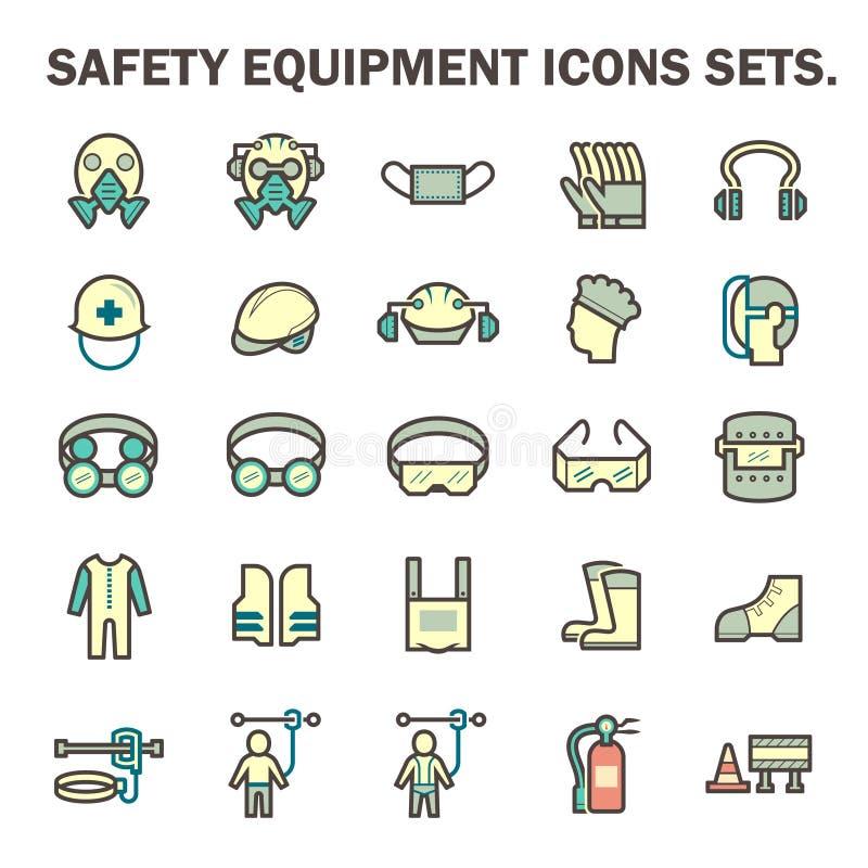 Symboler för säkerhetsutrustning vektor illustrationer