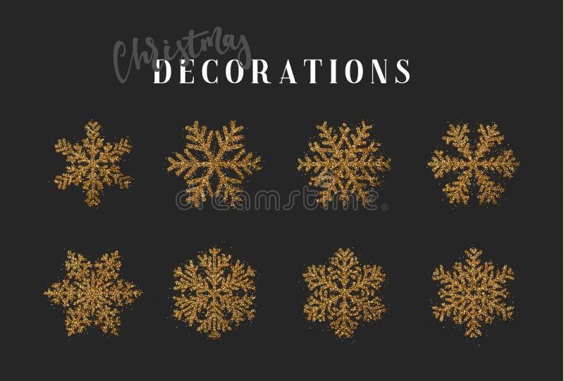 Symboler för ` s för snöflingagarneringjul och för nytt år stock illustrationer