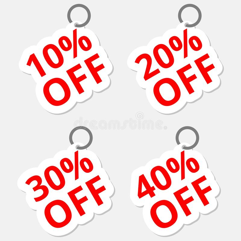 Symboler för Sale rabattklistermärkear Tecken för pris för specialt erbjudande 10, 20, 30 och 40 procent av förminskningssymboler royaltyfri illustrationer
