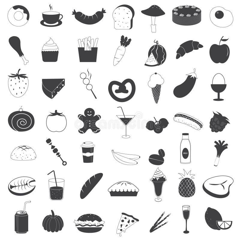 symboler för samlingsdrinkmat stock illustrationer