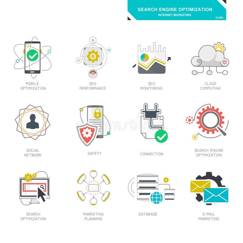 Symboler för Seo internetmarknadsföring, modern plan design stock illustrationer