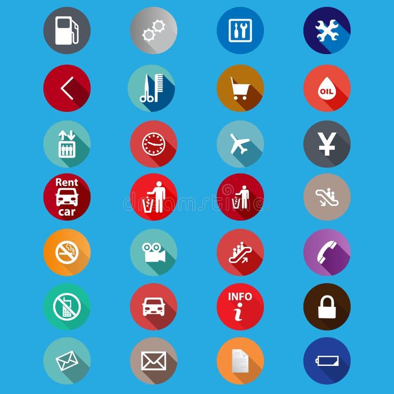Symboler för service i en plan stil vektor stock illustrationer