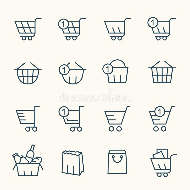 Symboler för shoppingkorg royaltyfri illustrationer