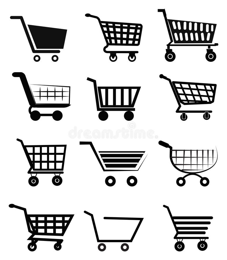 Symboler för shoppingvagn stock illustrationer