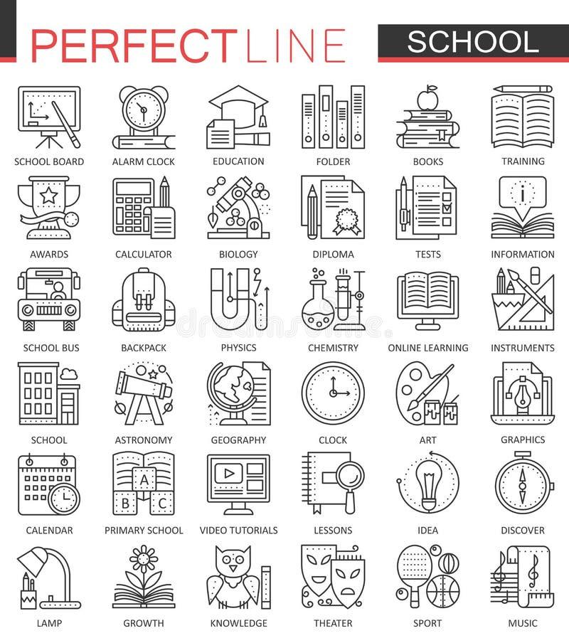 Symboler för skolutbildningöversiktsbegrepp Perfekt tunn linje symboler För stilillustrationer för modern slaglängd linjär uppsät vektor illustrationer