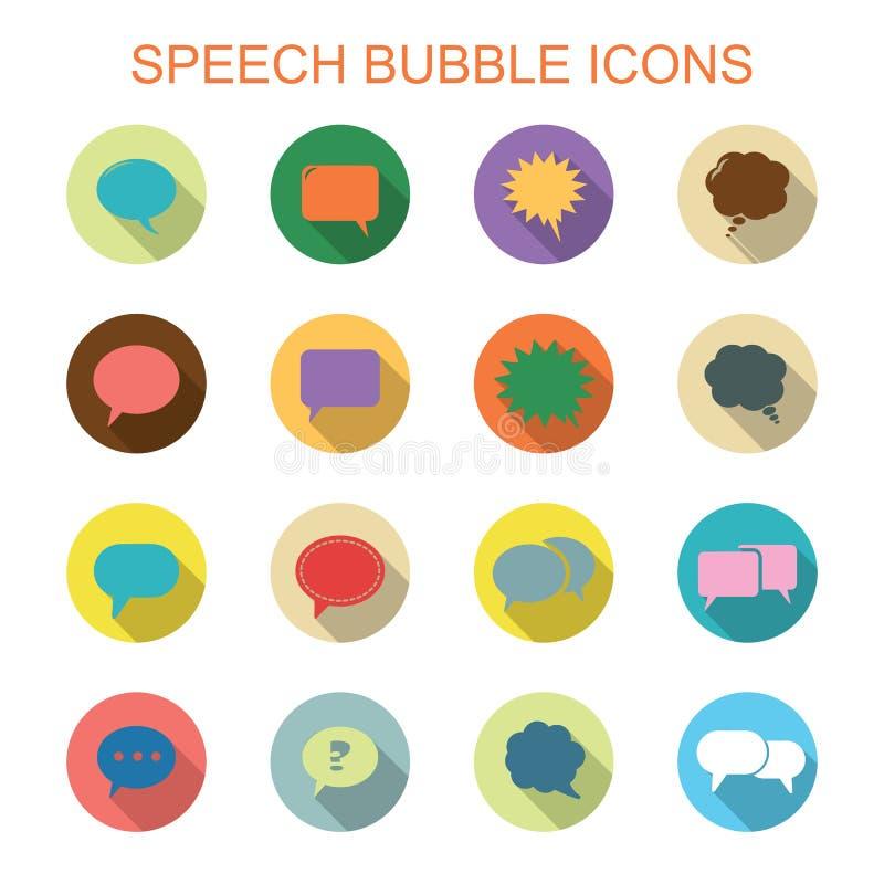 Symboler för skugga för färgrik anförandebubbla långa vektor illustrationer