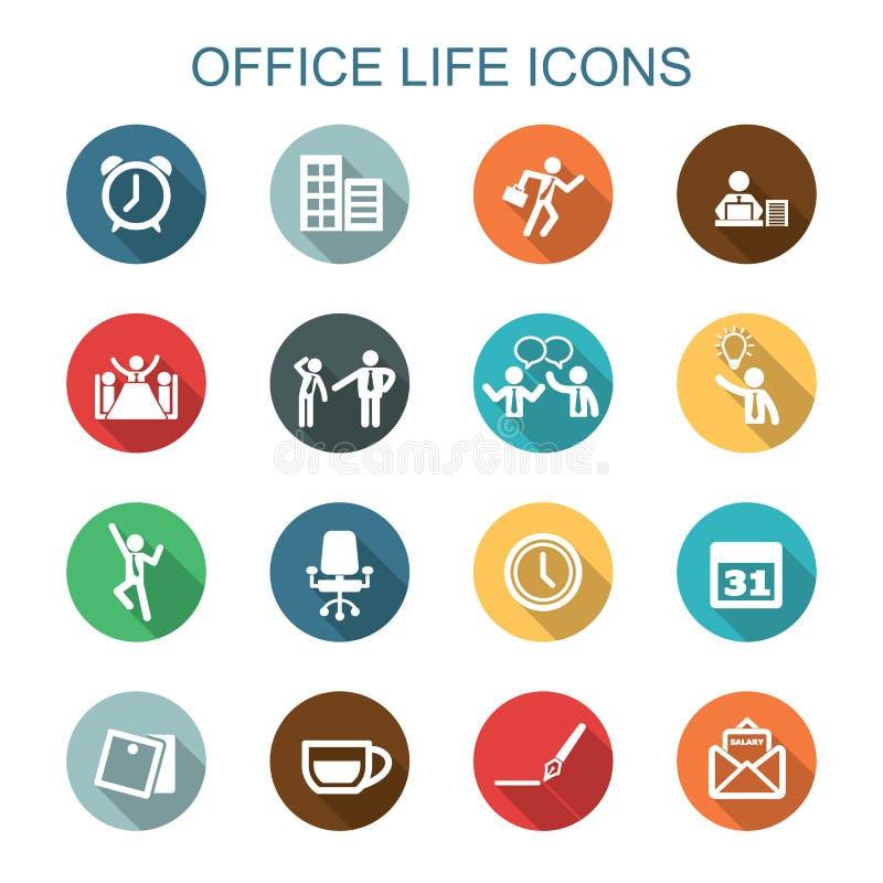 Symboler för skugga för kontorsliv långa royaltyfri illustrationer