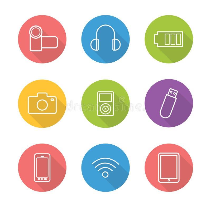 Symboler in för skugga för lägenhet för konsumentelektronik ställde linjära långa vektor illustrationer