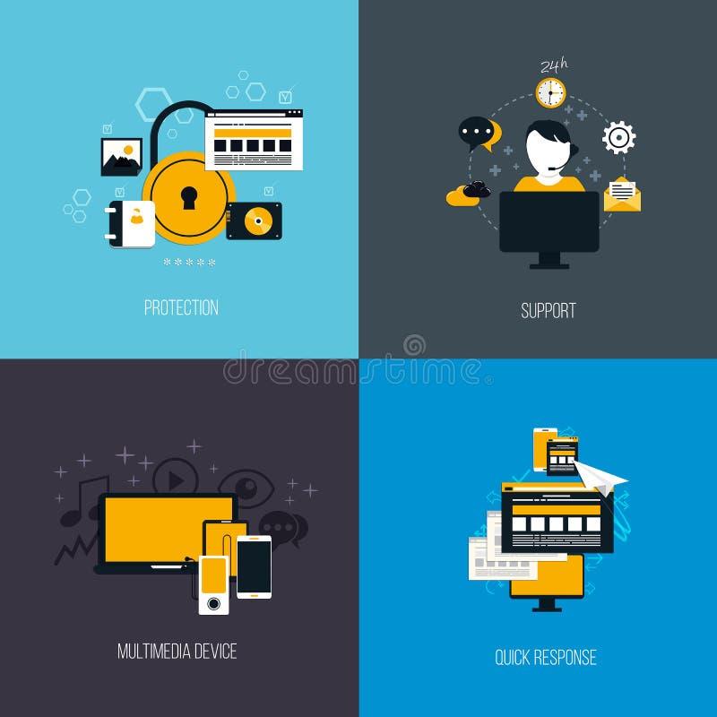 Symboler för skydd, service, multimediaapparat och quckrespon stock illustrationer