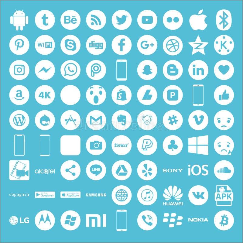 Symboler för social massmediasegrare royaltyfri illustrationer