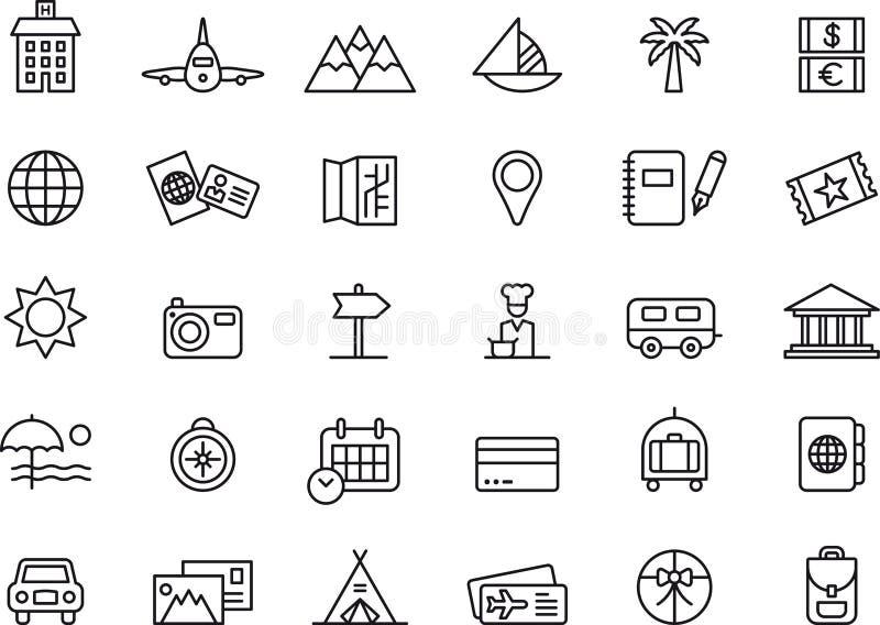 Symboler för sommarferie stock illustrationer