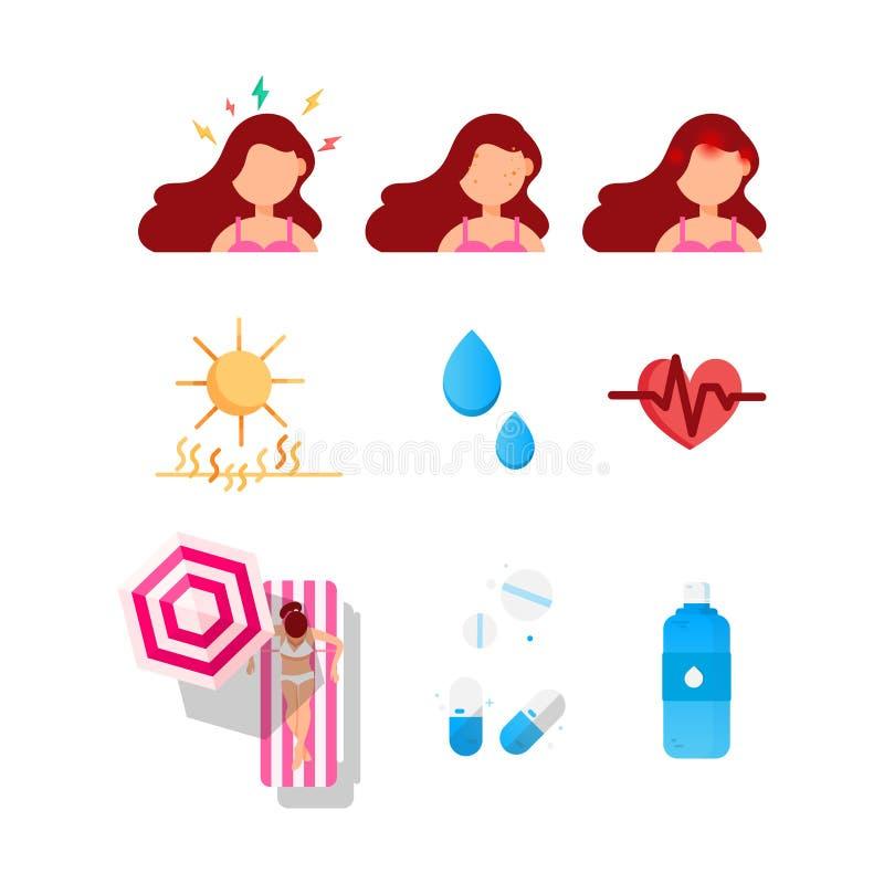 Symboler för sommarhudskydd av flickan med en huvudvärk, en spänning och en akne Sol och exponering till solljus Hjärtaproblem oc vektor illustrationer
