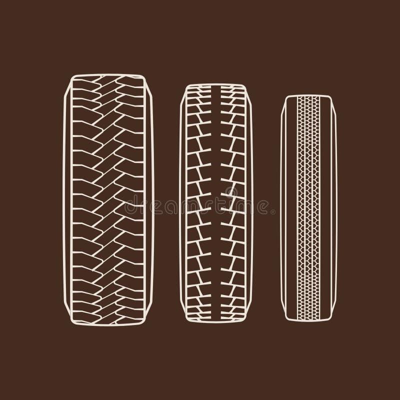 Symboler för spår för bilgummihjul isolerade vektor av gummihjuldäckmönstermodellen vektor illustrationer
