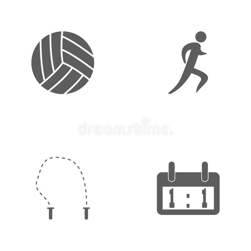 Symboler för sport för vektorillustrationuppsättning Beståndsdelfunktionskortfunktionskort, förkläde, logo av löparen och volleyb stock illustrationer