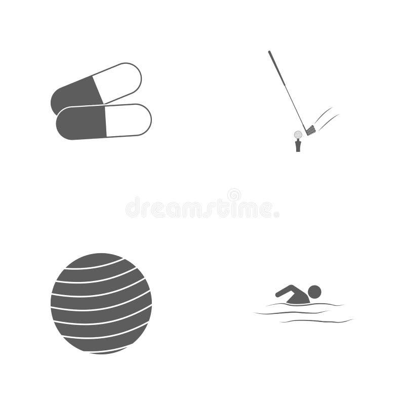 Symboler för sport för vektorillustrationuppsättning Beståndsdelsimmare, konditionboll, golf och preventivpillersymbol royaltyfri illustrationer
