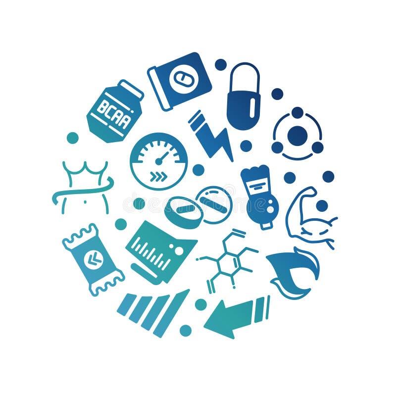 Symboler för sporttillägg makt, protein- och vitaminrundar begrepp royaltyfri illustrationer
