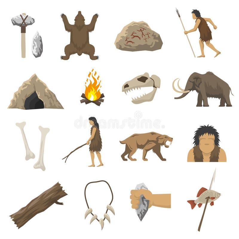 Symboler för stenålder royaltyfri illustrationer