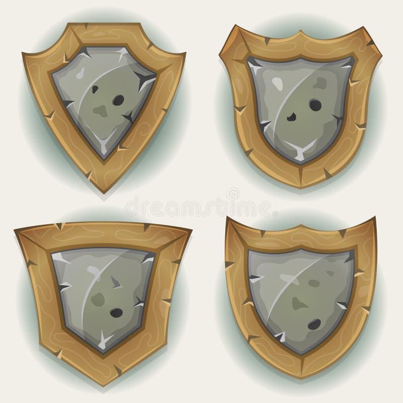 Symboler för sten- och träsköldsäkerhet royaltyfri illustrationer