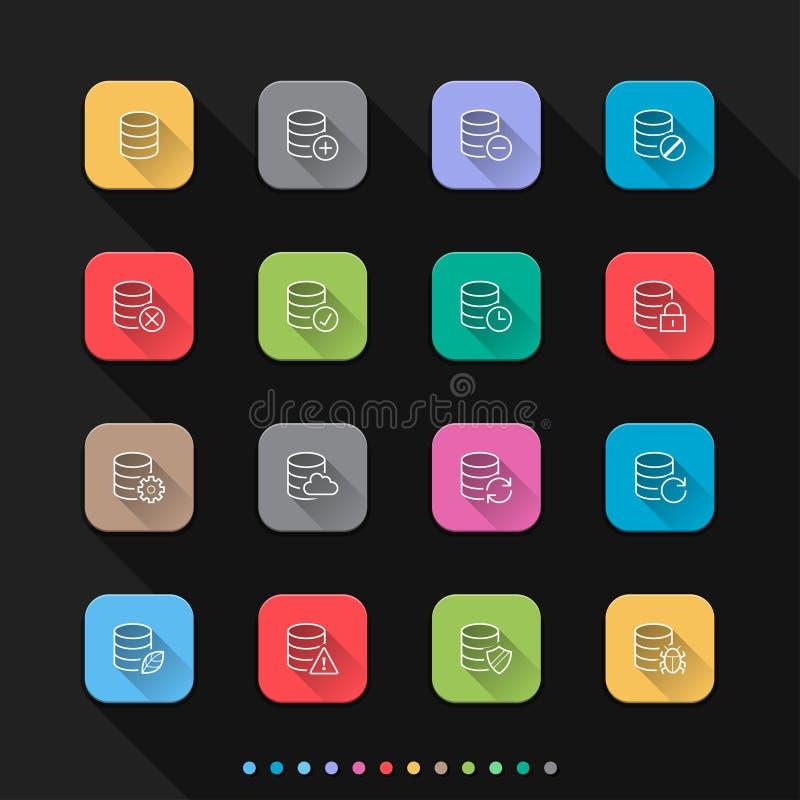 Symboler för stil för lägenhet för databassymbolsuppsättning ställde in - vektorillustrationen för rengöringsduk & mobil stock illustrationer