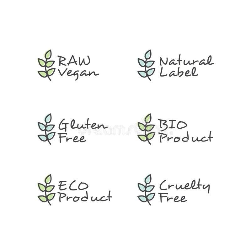 Symboler för stilillustrationLogo Set Badge Ingredient Warning etikett GMO SLS, Paraben, grymhet, sulfat, natrium, fosfat, siliko stock illustrationer