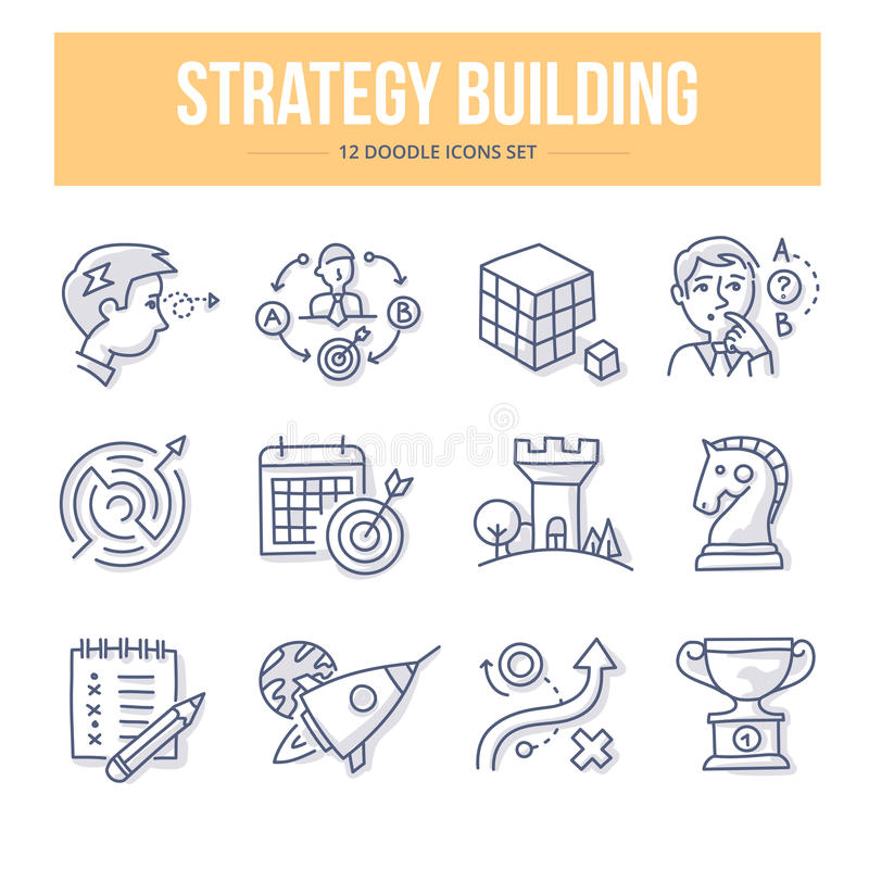 Symboler för strategibyggnadsklotter