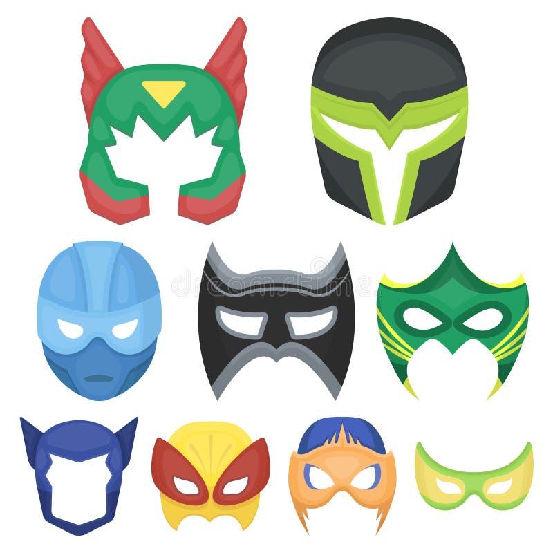 Symboler för Superheromaskeringsuppsättning i tecknad filmstil Stor samling av illustrationen för materiel för symbol för superhe vektor illustrationer