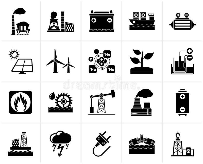 Symboler för svart elektricitets- och energikälla royaltyfri illustrationer