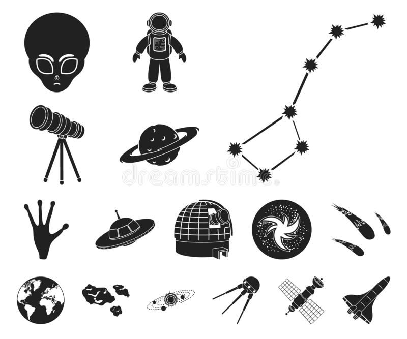 Symboler för svart för utrymmeteknologi i uppsättningsamlingen för design Rymdskepp- och utrustningvektorsymbolet lagerför rengör stock illustrationer