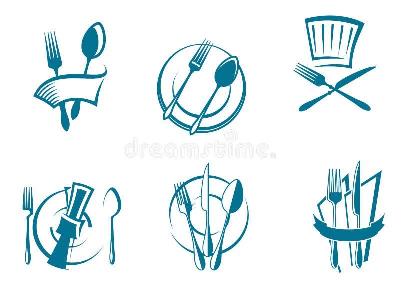 symboler för symbolsmenyrestaurang vektor illustrationer